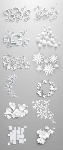 素白几何装饰花纹元素素材