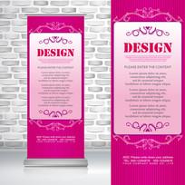 粉红色欧式花纹边框女性易拉宝