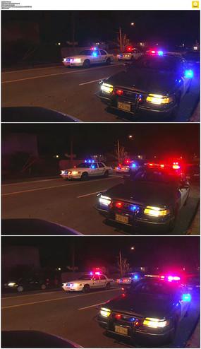 警车灯光闪烁实拍视频素材