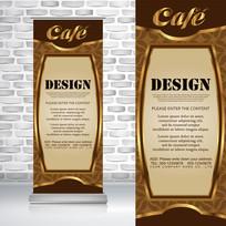 金色古典边框咖啡厅易拉宝