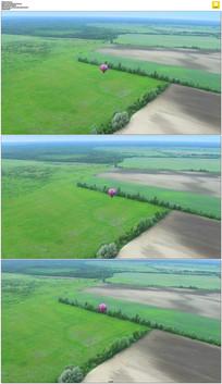 气球平原上空飞行实拍视频素材