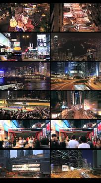 香港繁华都市夜景视频