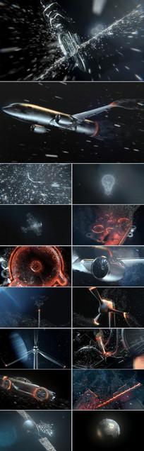 高科技粒子汇聚飞机引擎CG视频