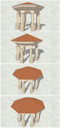 经典欧式八角亭SU模型