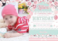 清新宝宝满月一周岁生日海报