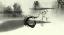 中国风水墨画人物舞动视频素材