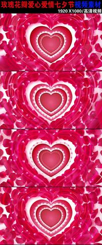 浪漫玫瑰花瓣爱情背景视频下载