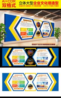 蓝色大气企业文化墙造型墙设计