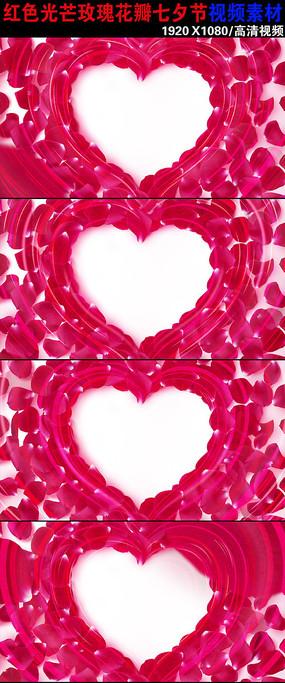 玫瑰花瓣心爱情视频素材下载