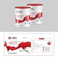 红色油漆桶化工产品包装桶贴