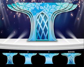 蓝色系婚礼舞台造型背景