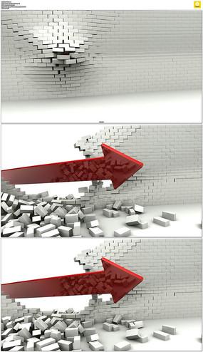 箭头突破砖墙动态视频素材
