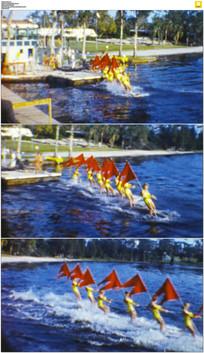 六十年代水上运动实拍视频素材