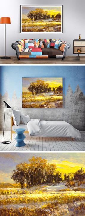 秋天的農田油畫裝飾畫