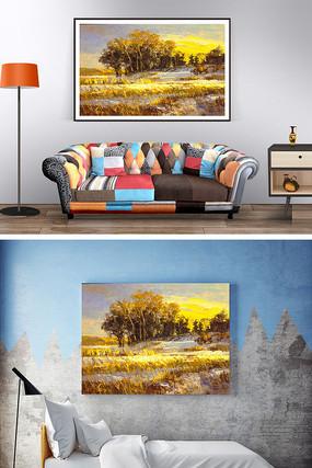 秋天的农田油画装饰画