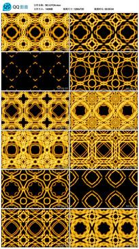 旋转正方形动感黄色万花筒视频