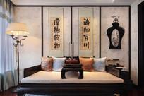 雅致中式客厅背景墙装饰