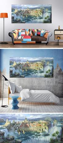 油画宫殿瀑布装饰画