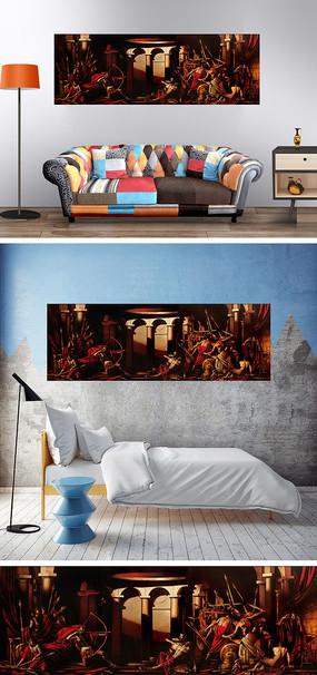 油画古罗马骑士装饰画