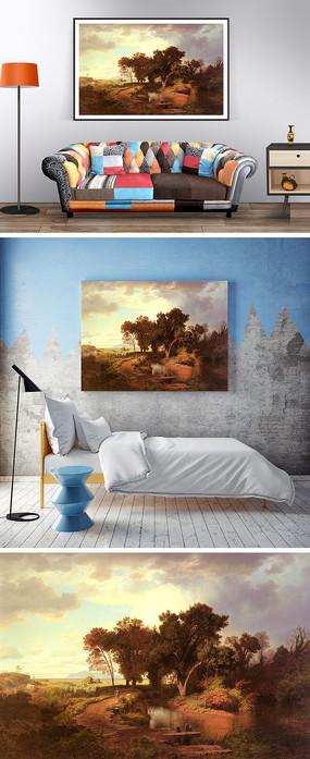 油畫秋天的景色裝飾畫