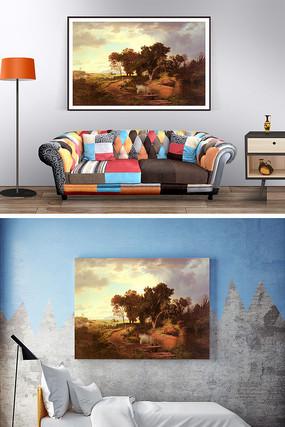 油画秋天的景色装饰画