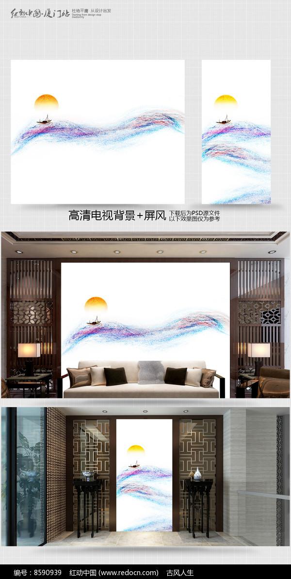 原创彩墨电视背景墙装饰画图片