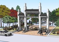 公园景区入口模型