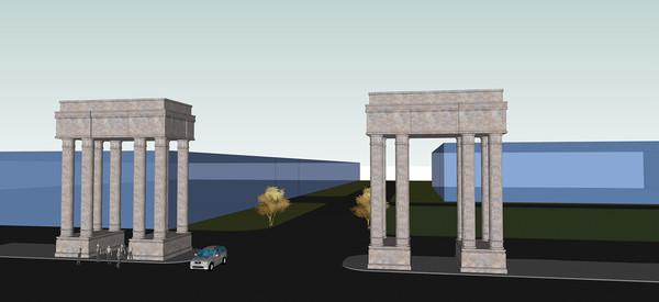 罗马柱大门模型