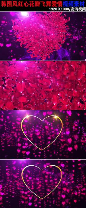 浪漫玫瑰花瓣爱情视频素材下载