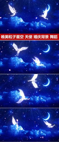 蓝色粒子星空天使飞舞婚礼视频
