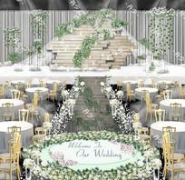 清新木纹韩式森系婚礼效果图