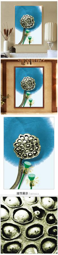 中式水墨荷花装饰画