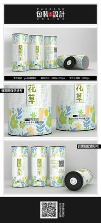 清新素雅花茶铁罐包装设计