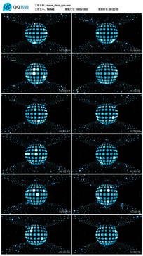 唯美蓝色光线空间圆点旋转视频