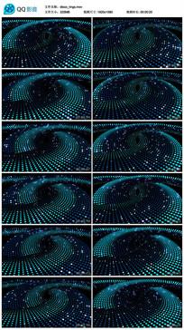 唯美蓝色光线圆点空间旋转视频