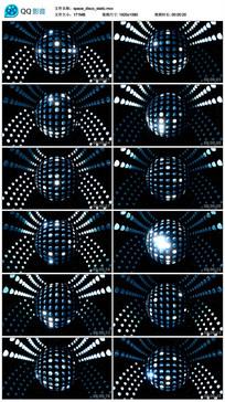 唯美蓝色圆点光线空间旋转视频