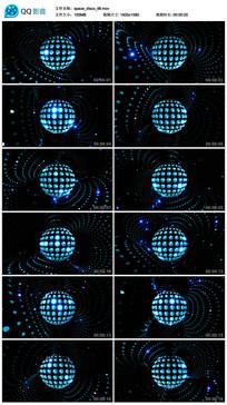 唯美圆点蓝色光线空间旋转视频