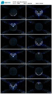 圆点唯美蓝色光线空间旋转视频