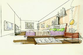 简单卧室手绘效果图 JPG