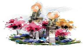 景观雕塑手绘