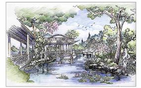 滨水景观手绘