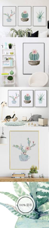 北欧清新水彩植物装饰无框画