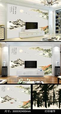 国画山水客厅电视背景墙