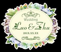 绿色森系创意婚礼LOGO背景素材