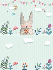 北欧手绘简约兔子儿童背景墙