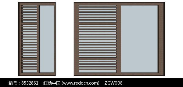 半格栅窗户模型图片