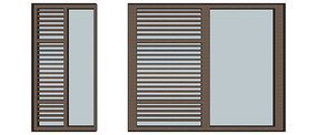 半格栅窗户模型