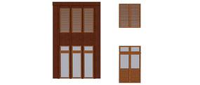 多款带木格栅窗户模型