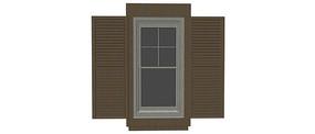 可推拉木格栅窗户模型