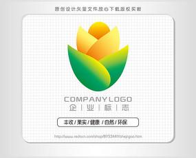 绿色生态果实logo标志设计